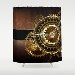 Steampunk Clock with Gears Shower Curtain