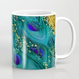 Teal Peacock Feathers Coffee Mug