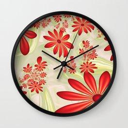 Dancing Red Flowers, Fractals Art Wall Clock