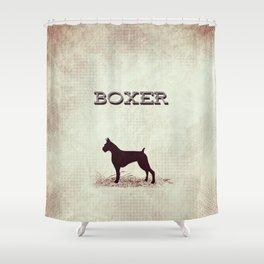 Retro Boxer Distressed Paper Shower Curtain