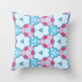 Flower-Kaleidoscope Blue Throw Pillow