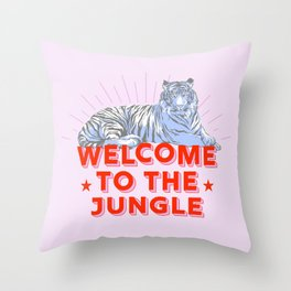 welcome to the jungle - retro tiger Throw Pillow