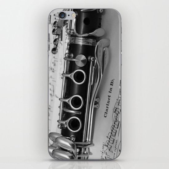 B Flat Clarinet in Black & White iPhone & iPod Skin