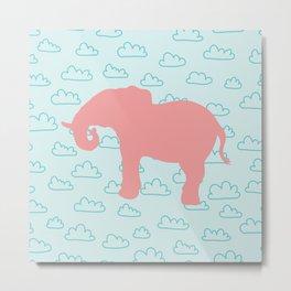 Pink Elephant and clouds , nursery decor Metal Print