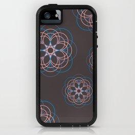 Boho Style Line Mandala Flowers, Pink Blue Purple Hippi Style iPhone Case