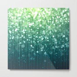 Spring Teal Green Sparkles Metal Print