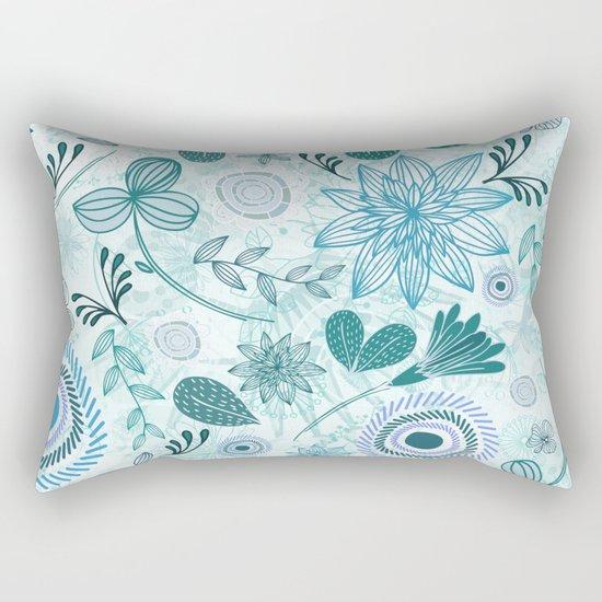 Teal Flowery Doodles Rectangular Pillow
