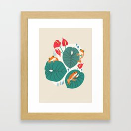 Tropical Frogs in the Jungle - Cream Framed Art Print