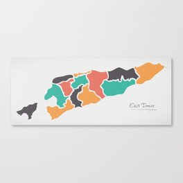 East Timor Map with states and modern round shapes Canvas Print