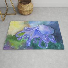 Octopus in the Reef Watercolor Rug