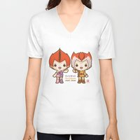 thundercats V-neck T-shirts featuring Willykit & Willykat - 2 by Azul Piñeiro