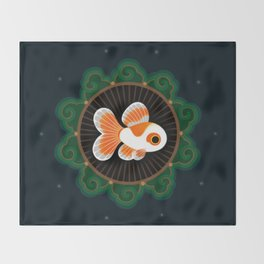 Butterfly goldfish - white Throw Blanket