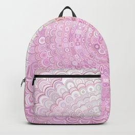 Pink and White Flower Mandala Backpack