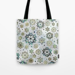Festive Golden Abalone Shell Snowflake pattern Tote Bag