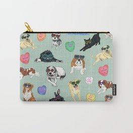Valentine's Day Candy Hearts Puppy Love - Mint Green Carry-All Pouch