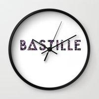 bastille Wall Clocks featuring Bastille Flower Logo by marinasdiamonds