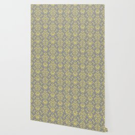 Damask Pattern in Grey and Yellow Wallpaper