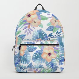 Tropical coral lilac lavender blue watercolor floral Backpack