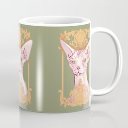 Royal Hairless Sphynx Cat in a Gold Baroque Frame - Green Background Coffee Mug