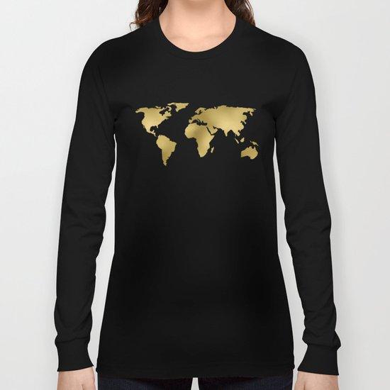 Metallic Gold Leaf Map on paper Long Sleeve T-shirt