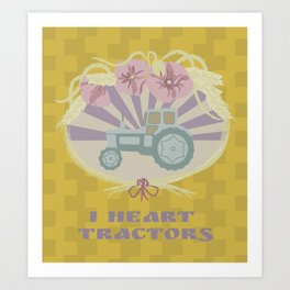 I Heart Tractors - mustard Art Print