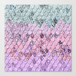 Mermaid Scales with Unicorn Girls Glitter #4 #shiny #pastel #decor #art #society6 Canvas Print