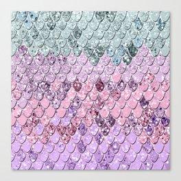 Mermaid Scales with Unicorn Girls Glitter #4 #shiny #pastel #decor #art #society6 Canvas Print