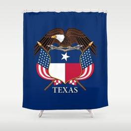 Texas flag and eagle crest - original design by BruceStanfieldArtist Shower Curtain