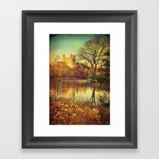 Across the Lake In Central Park  Framed Art Print