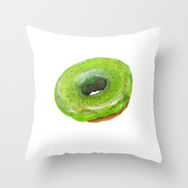 Matcha Glazed Donut Throw Pillow