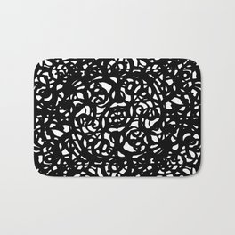 Black and White Abstract Intricate Print Bath Mat