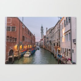 Venice Italy Canal Photography, Travel Italy Wall Art, Venetian Canals at Dusk Home Decor Canvas Print