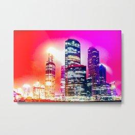Shining Skyscraper Buildings At Red And Violet Night Metal Print