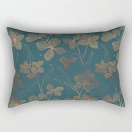 Copper Art Deco Flowers on Emerald  Rectangular Pillow