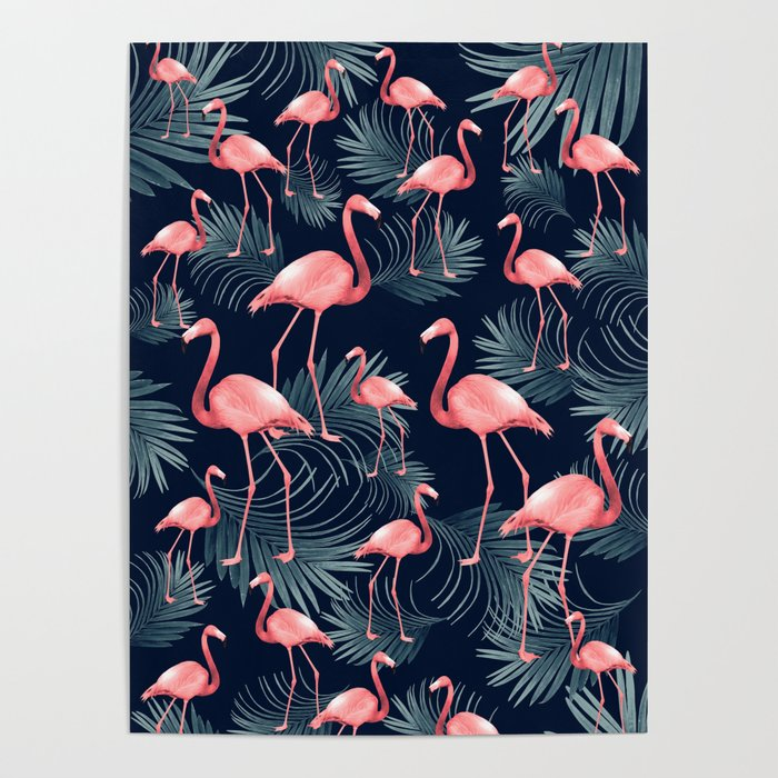 Summer Flamingo Palm Night Vibes #1 #tropical #decor #art #society6 Poster
