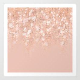 Elegant coral rose gold white ombre floral Art Print