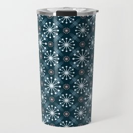 Starburst and Lines Mid Century Blue Travel Mug