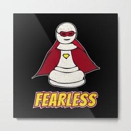 Fearless Superhero Pawn Chess Piece - Cool Chess Club Gift Metal Print