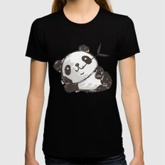 Panda SMALL Womens Fitted Tee Black
