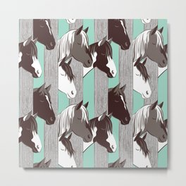 Waiting for the horse race // mint background Metal Print