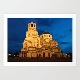 Nightshot Of Cathedral Alexandar Nevsky In Sofia Art Print