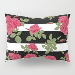 Red roses with horizontal stripes black white Pillow Sham