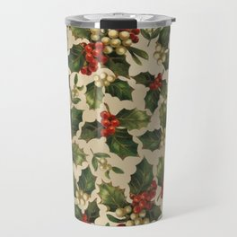 Gold and Red Holly Berrys Travel Mug