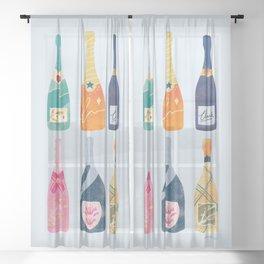 Champagne Bottles - Blue Ver. Sheer Curtain
