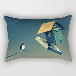 Flying Bird...house Rectangular Pillow