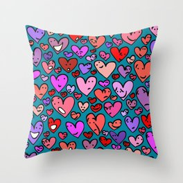 #MindfulHearts #faces Throw Pillow