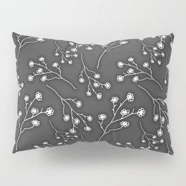Baby's Breath Flower Pattern - Black Pillow Sham