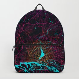 Hamburg City Map of Germany - Neon Backpack