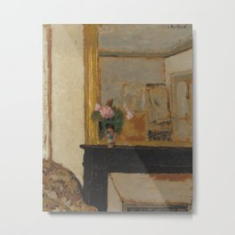 Vase of Flowers of a Mantelpiece Metal Print