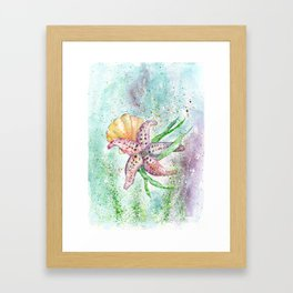 Starfish Watercolor Art Illustration Framed Art Print